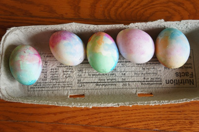 Tissue Paper Dyed Eggs, Foam Paint, and Liquid Sidewalk Chalk